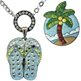 Allure Magnetic Necklace with Glitzy Palm Tree & Blue Flip Flop adorned with Crystals from Swarovski Ball Markers