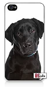 Adorable Cute & Sad Black Labrador Retriever Puppy Dog Apple iPhone 5C Quality Hard Snap On Case for iPhone 5c/5C - AT&T Sprint Verizon - White Case