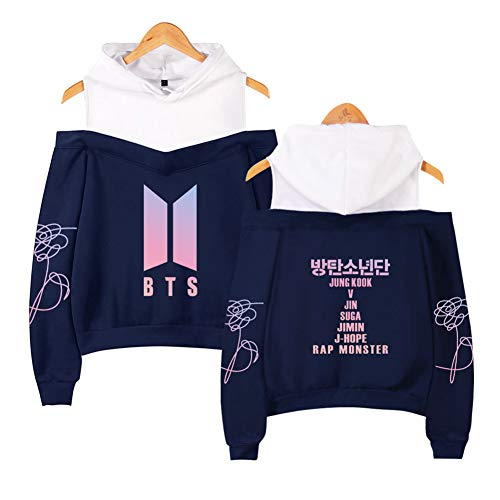 ZAWARA Kpop BTS Love Yourself Hoodie Suga Jimin V Rap-Monster Sweater Off Shoulder Women Hooded Sweatshirt Jacket Pullover