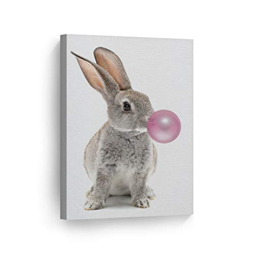 Bunny Rabbit Animal Decor Bubble Gum Art Pink Canvas Print Wall Art Kids Gift Nursery Room Decor Stretched and Ready to Hang- Handmade in The USA - 12x8 ()