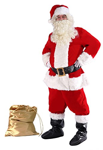 ilishop Men's Deluxe Santa Suit 10pc. Christmas Adult Santa Claus Costume Red M -