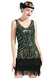 1920s V Neck Beaded Dress With Sequins & Fringed