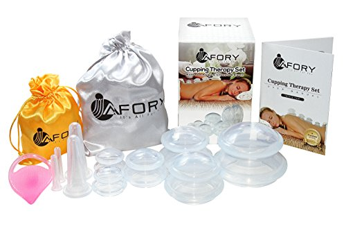 Premium Cupping Massage Therapy Set: Say Goodbye to Cellulite, Stretch Marks & Wrinkles! Therapeutic Silicone Cups with a Bonus Facial Kit & Massage Brush, Manual and 2 Satin Bags. Ideal ()