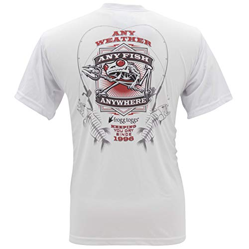 (Frogg Toggs FTSSAF-03 Any Fish, Anywhere Short Sleeve Performance Shirt, White with Red Logo, X-Large)