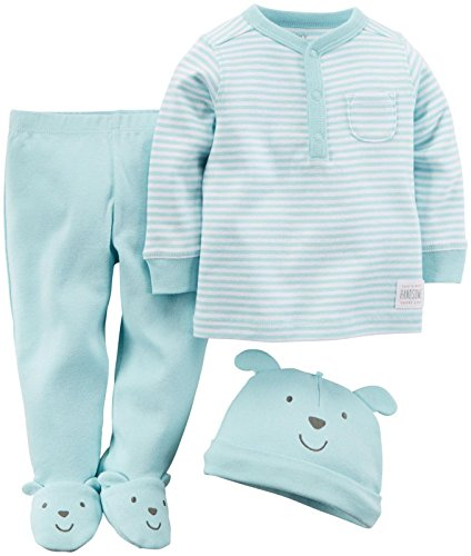 (Carter's Baby Boys' 3 Piece Footed Set (Baby) - Light Blue - 6M)