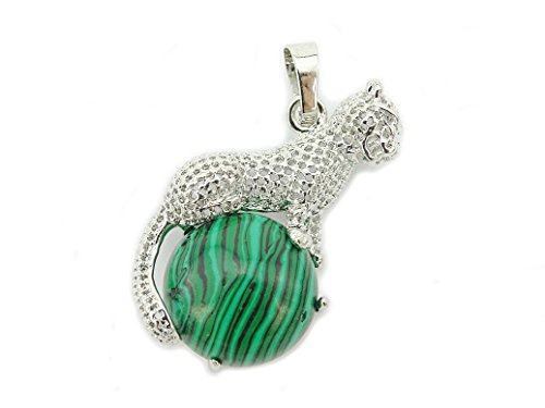 jennysun2010 21x36mm Natural Malachite Round Gemstone With Silver Plated Leopard Reiki Chakra Pendant Charm Beads 1 Piece per Bag for Necklace Earrings Jewelry Making Crafts Design