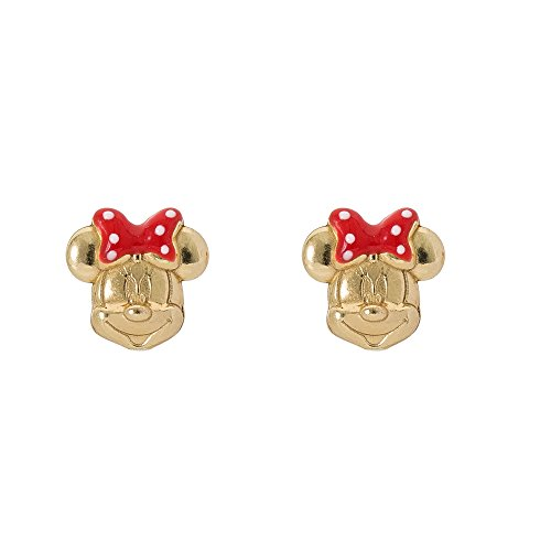 (Disney Minnie Mouse 14K Gold Over Sterling Silver Stud Earrings with Red Polka Dot Bow)