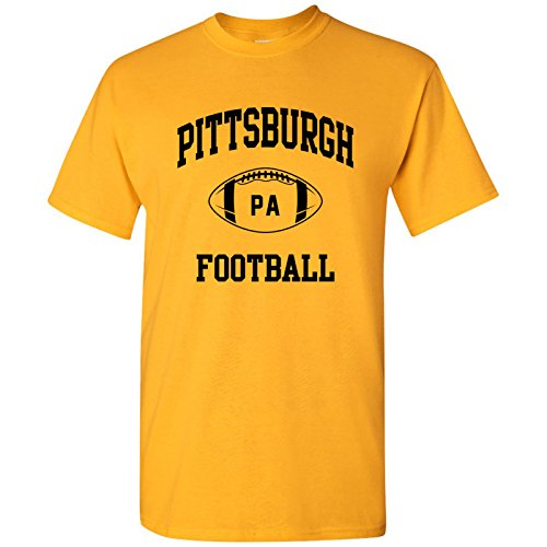 Steelers Football T-shirt - Pittsburgh Classic Football Arch Basic Cotton T-Shirt - X-Large - Gold