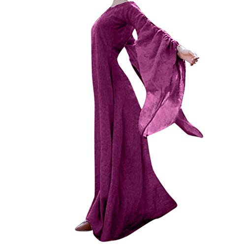 Clearance Halloween Dress, Costume Women Medieval Dress Vintage Retro Gown Long Dress Halloween Cosplay Costumes(Purple,16)
