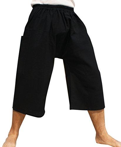 Raan Pah Muang Brand Thailand Sadaw Baggy 3/4 Leg Peasants Pants Warm Cotton, XXX-Large, Black
