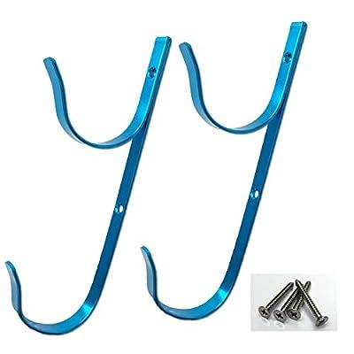 PoolSupplyTown Swimming Pool Aluminum Pool Hanger Set for Telescopic Pole, Leaf Skimmer & Rake, Brush, Vacuum Hose-- Blue Color