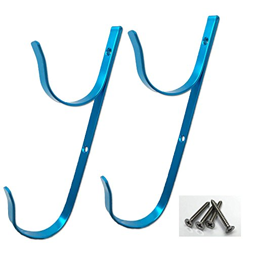 PoolSupplyTown Swimming Pool Aluminum Pool Hanger Set for Telescopic Pole, Leaf Skimmer & Rake, Brush, Vacuum Hose-- Blue Color