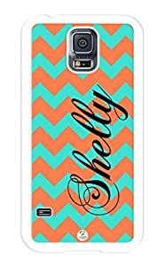 Samsung Galaxy S5 Case Personalized Turquoise and Coral Chevron Pattern RUBBER CASE - Fits Samsung Galaxy S5 T-Mobile, Sprint, Verizon and International (White)
