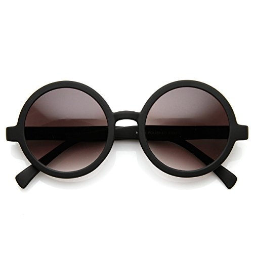 - Cute Mod-era Vintage Inspired Round Circle Sunglasses (Matte Black Lavender)