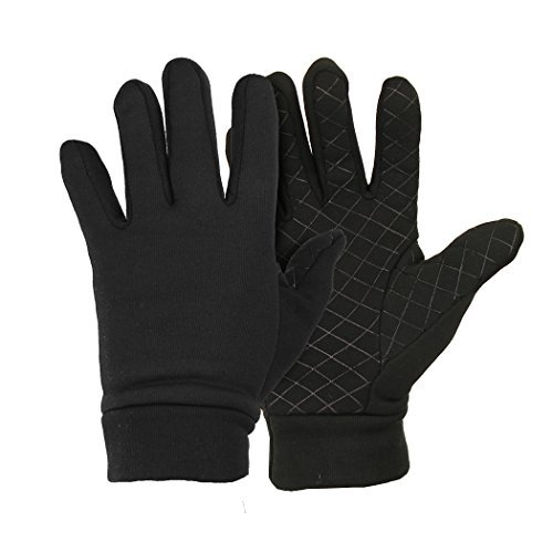 Men's / Women's (Unisex) Moisture Wicking Micro-fleece Running Sport Gloves (Black, (Fleece Mens Glove)