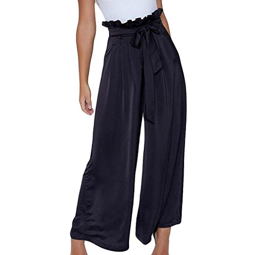 (Hot Sale Shybuy Womens Wide Leg Flare Box Pleat Palazzo High Tie Waist Textured Pants (XL, Black))