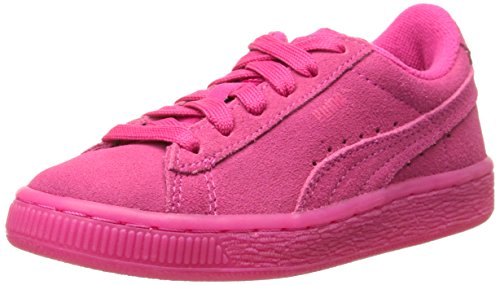 PUMA Suede Iced Fluo Jr Sneaker (Little Kid/Big Kid), Beetroot Purple/White, 1.5 M US Little Kid