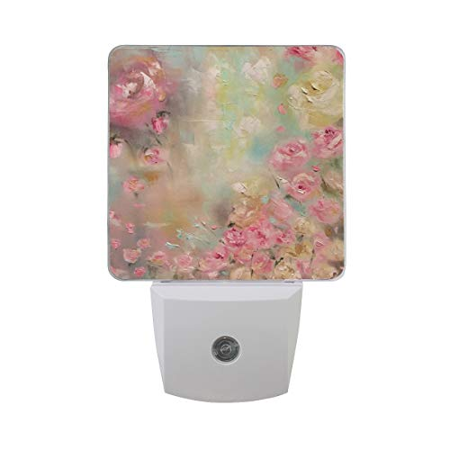 Night Light Oil On Canvas Floral Roses Painting Led Light Lamp for Hallway, Kitchen, Bathroom, Bedroom, Stairs, DaylightWhite, Bedroom, Compact ()