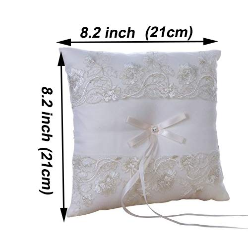 Amajoy Ivory Wedding Ring Pillow Ring Cushion with Lace Flower, 8.2 inch (21cmx 21cm) Ring Bearer for Beach Wedding, Wedding Ceremony by Amajoy (Image #1)