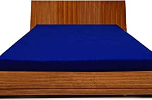 Brightlinen Royal Blue Superking (180 X 200 Cm) Fitted Sheet Stripe (pocket Size: 34 Cm) 1pcs