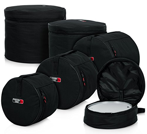 "Gator Cases Protechtor Series 5 piece Padded Drum Bag Set for Standard Kits; 22"" Kick, 12? Tom, 13? Tom, 16? Tom, 14? Snare (GP-STANDARD-100)"