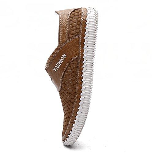 YiLianDa Men's Summer Breathable Mesh Shoes Walking Anti-Slip Slippers Light Brown JiGbSUuMj