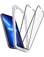 Spigen AlignMaster Skärmskydd kompatibel med iPhone 13 Pro Max, 2 Stycken, met sjabloon voor installatie, Full Täckning, kristallklart, Case friendly, 9H härdat Glas