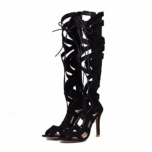 de mate gamuza canister cordones Up Tamaño del zapatos tacones Lace de altos botas zapatos black UxqBHWqwn