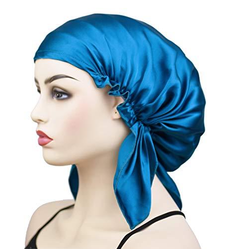Large Silk Cap for Sleeping, Women's Silk Bonnet Sleep Cap Night Hat Head Cover for Natural Hair Curly Hair Loss, Peacock Blue