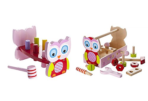 Set of Wooden Toys for Toddler Girl Wooden Tool Box Toy plus Wooden Hammer Toy