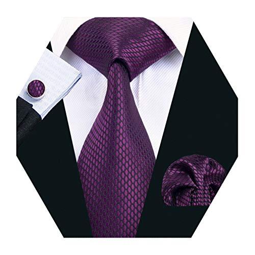 Barry.Wang Mens Purple Tie Set Solid Silk Necktie Pocket Square Cufflinks Extra Long Tie