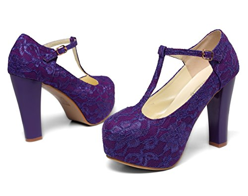 Dress T Wedding Janes Lace Women Marty Shoes Getmorebeauty strappy Purple Women's a0twp80qU