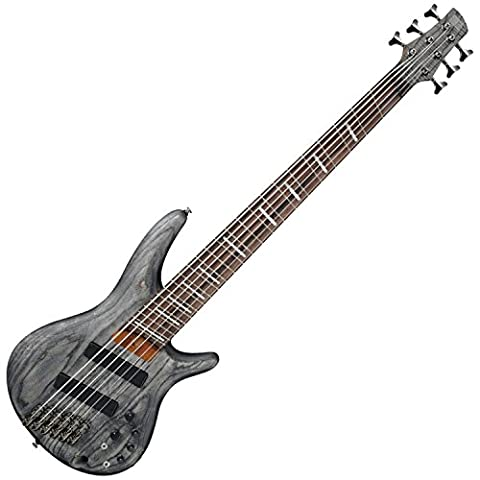 Ibanez Bass Workshop SRFF806BKS Multi-Scale - Black Stained Ash - Bubinga Body