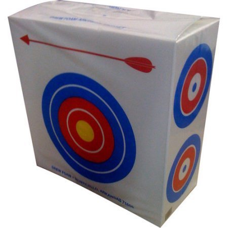 Drew Polystyrene Foam Archery Target 2′ Square With a Large Bull's Eyes on One Side for Beginners and Four Smaller Bull's Eyes on The Other Side for Experienced Archers Great for Light Weight Bows