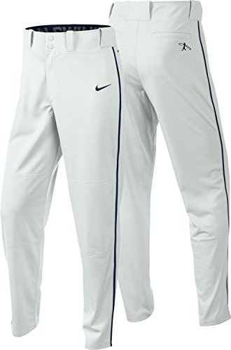 Nike Men's Swingman Dri-FIT Piped Baseball Pants (White/Navy, Large) by NIKE