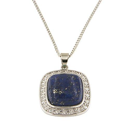 Lapis Lazuli Locket (Dyed Lapiz Lazuli Cabochon Brass Silver Color Finish 18