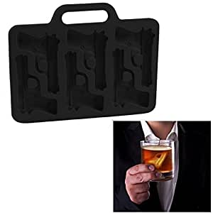 Handgun Ice Cube Mold (1) Ice Maker Tray with Bullets (1) [Set of 2 Trays] Fun Novelty - Black by Silicone Alley