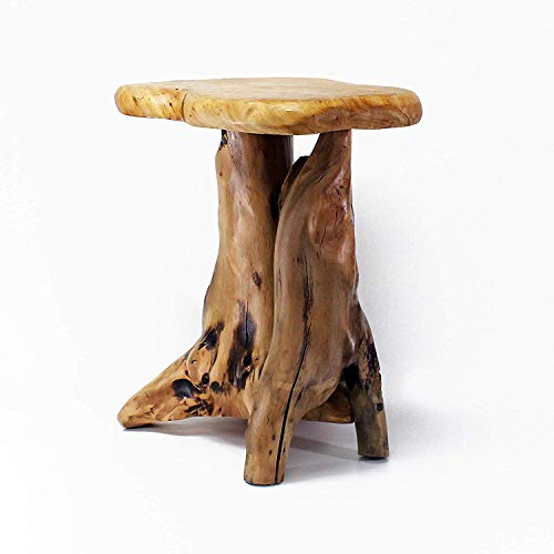 (WELLAND Cedar Root Wood Log Side Table, End Table, Rustic Primitive Natural Live Edge)