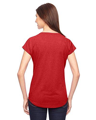 6750VL diseño de yunque para mujer V-cuello Tri-mezcla de camiseta para hombre rojo - Heather Red