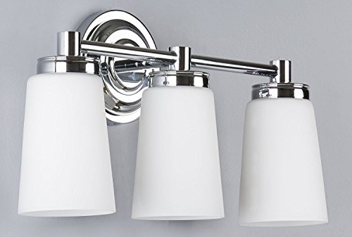 Linea 2 Light Sconce - Sheffield 3 Light Bathroom Vanity Chrome w/ Frosted Glass Linea di Liara LL-WL260-3-PC