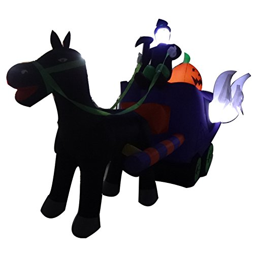 Sayok 11.5ft Long Inflatable Halloween Horse Carriage Reaper Pumpkin Decorations with Led Lightings for Outdoor Yard Decor