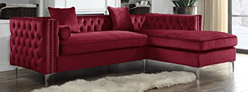 Iconic Home Da Vinci Right Hand Facing Sectional Sofa L Shape Chaise Velvet Button Tufted with Silver Nail Head Trim Silvertone Metal Y-Leg with 3 Accent Pillows, Modern Contemporary, Red - Red Velvet Sofa
