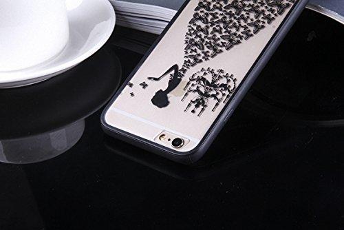 König-Shop Handy Hülle Mandala für Apple iPhone 7 Plus Design Case Schutzhülle Motiv Schmetterling Frau Cover Silikon Tasche Bumper Schwarz