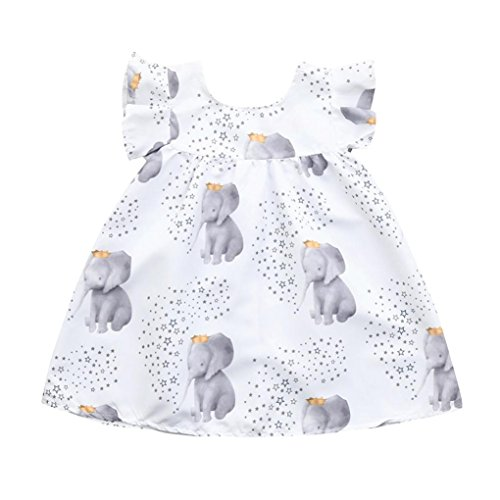 FORESTIME Summer Girls Dresses,Casual Cartoon Print Elephant Ruffer Sleelves Sundresses (white, 6-12 (Darling Floral Skirt)