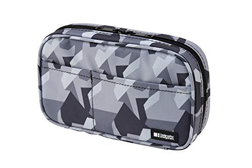 LIHIT LAB Zipper Pen Case, 7.9 × 2 × 4.7 Inches, Ice Gray Camo (A7551-135)
