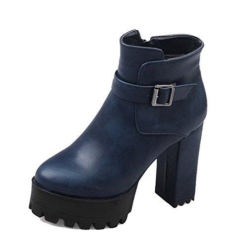 PU WeenFashion Boots Solid Blue Zipper High Heels Women's Closed Toe Round wwf6p