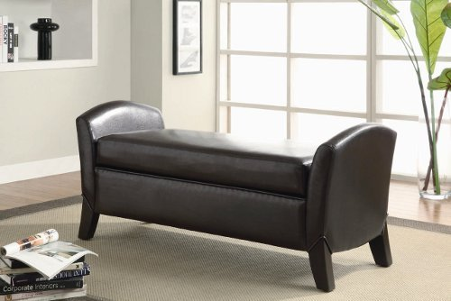 Stylish dark brown leather like vinyl upholstered storage bench with arms and wood feet (Benches Wood Arms)