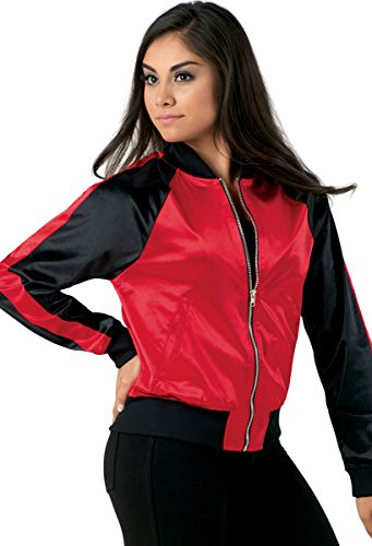 Balera Jacket Girls Bomber for Dance Long Sleeve Satin Zip Up Athletic Coat Red/Black Adult Medium