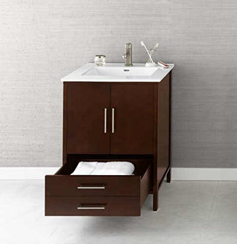 RONBOW ESSENTIALS Juno 24 Inch Bathroom Vanity Cabinet Base in Dark Cherry Finish, with Soft Close Wood Doors and Full Extension Drawers 039224-3-H01