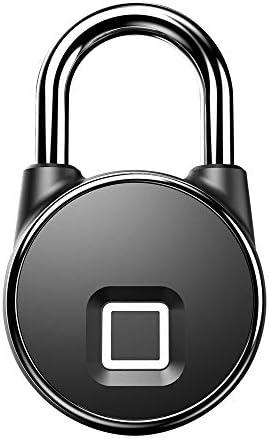 電子ドアロック 荷物指紋防水電子スマートロック南京錠ドアロック荷物ケースロック スーツケース荷物 家のドア 窓ドア 自転車 (色 : Black, Size : One size)